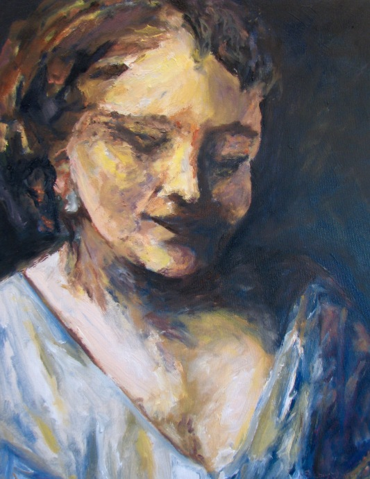woman holding dress oil 2016